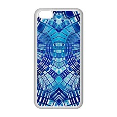 Blue Mirror Abstract Geometric Apple Iphone 5c Seamless Case (white) by CrypticFragmentsDesign