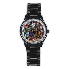 Las Vegas Nevada Ghosts Stainless Steel Round Watch by CrypticFragmentsDesign