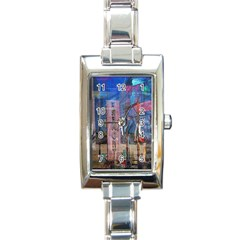 Las Vegas Strip Walking Tour Rectangle Italian Charm Watch by CrypticFragmentsDesign