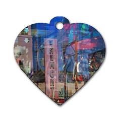 Las Vegas Strip Walking Tour Dog Tag Heart (one Side) by CrypticFragmentsDesign