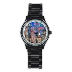 Las Vegas Strip Walking Tour Stainless Steel Round Watch by CrypticFragmentsDesign