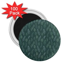 Whimsical Feather Pattern, Forest Green 2 25  Magnet (100 Pack)  by Zandiepants