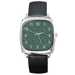 Whimsical Feather Pattern, Forest Green Square Metal Watch by Zandiepants