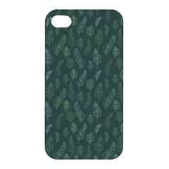 Whimsical Feather Pattern, Forest Green Apple Iphone 4/4s Hardshell Case by Zandiepants