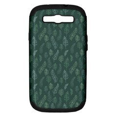 Whimsical Feather Pattern, Forest Green Samsung Galaxy S Iii Hardshell Case (pc+silicone) by Zandiepants