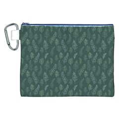 Whimsical Feather Pattern, Forest Green Canvas Cosmetic Bag (xxl) by Zandiepants