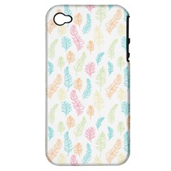 Whimsical Feather Pattern,fresh Colors, Apple Iphone 4/4s Hardshell Case (pc+silicone) by Zandiepants