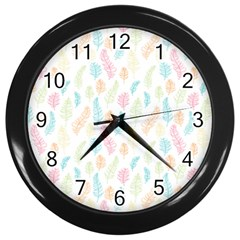 Whimsical Feather Pattern,fresh Colors, Wall Clock (black) by Zandiepants