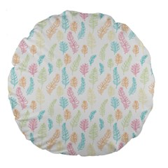 Whimsical Feather Pattern,fresh Colors, Large 18  Premium Flano Round Cushion  by Zandiepants