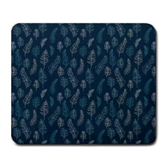 Whimsical Feather Pattern, Midnight Blue, Large Mousepad by Zandiepants