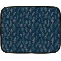 Whimsical Feather Pattern, Midnight Blue, Double Sided Fleece Blanket (mini) by Zandiepants