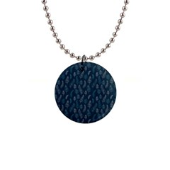Whimsical Feather Pattern, Midnight Blue, 1  Button Necklace by Zandiepants