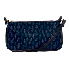 Whimsical Feather Pattern, Midnight Blue, Shoulder Clutch Bag by Zandiepants