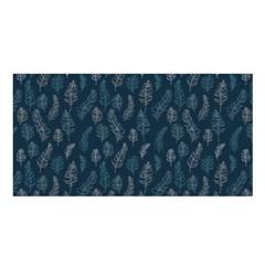 Whimsical Feather Pattern, Midnight Blue, Satin Shawl by Zandiepants