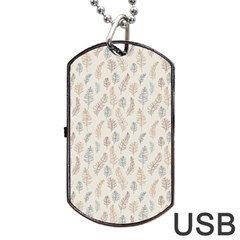 Whimsical Feather Pattern, Nature brown, Dog Tag USB Flash (Two Sides) by Zandiepants
