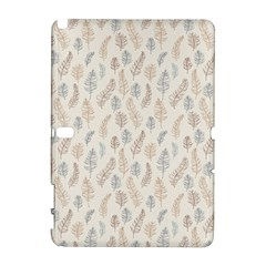 Whimsical Feather Pattern, Nature Brown, Samsung Galaxy Note 10 1 (p600) Hardshell Case by Zandiepants