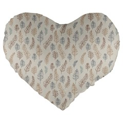 Whimsical Feather Pattern, Nature Brown, Large 19  Premium Flano Heart Shape Cushion by Zandiepants