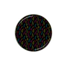 Whimsical Feather Pattern, Bright Pink Red Blue Green Yellow, Hat Clip Ball Marker (4 Pack) by Zandiepants