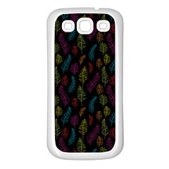 Whimsical Feather Pattern, Bright Pink Red Blue Green Yellow, Samsung Galaxy S3 Back Case (white) by Zandiepants