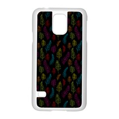 Whimsical Feather Pattern, Bright Pink Red Blue Green Yellow, Samsung Galaxy S5 Case (white) by Zandiepants