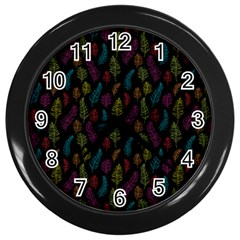 Whimsical Feather Pattern, Bright Pink Red Blue Green Yellow, Wall Clock (black) by Zandiepants