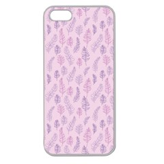 Whimsical Feather Pattern, Pink & Purple, Apple Seamless Iphone 5 Case (clear) by Zandiepants