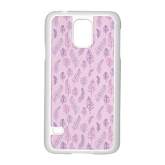 Whimsical Feather Pattern, Pink & Purple, Samsung Galaxy S5 Case (white) by Zandiepants