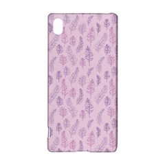 Whimsical Feather Pattern, Pink & Purple, Sony Xperia Z3+ Hardshell Case by Zandiepants