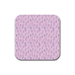 Whimsical Feather Pattern, Pink & Purple, Rubber Square Coaster (4 Pack) by Zandiepants