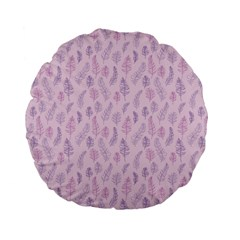 Whimsical Feather Pattern, pink & purple, Standard 15  Premium Flano Round Cushion  by Zandiepants