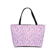 Whimsical Feather Pattern, Pink & Purple, Classic Shoulder Handbag by Zandiepants