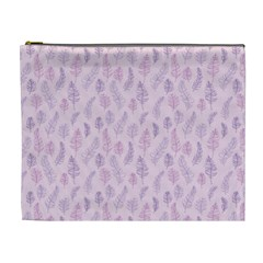 Whimsical Feather Pattern, Pink & Purple, Cosmetic Bag (xl) by Zandiepants