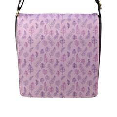 Whimsical Feather Pattern, Pink & Purple, Flap Closure Messenger Bag (l) by Zandiepants