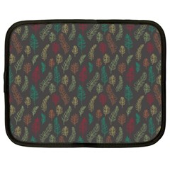 Whimsical Feather Pattern, Autumn Colors, Netbook Case (xl) by Zandiepants