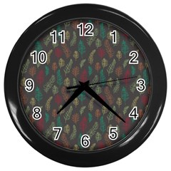 Whimsical Feather Pattern, Autumn Colors, Wall Clock (black) by Zandiepants