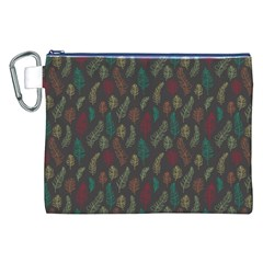 Whimsical Feather Pattern, Autumn Colors, Canvas Cosmetic Bag (xxl) by Zandiepants