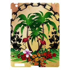 Tropical Design With Flamingo And Palm Tree Apple Ipad 3/4 Hardshell Case by FantasyWorld7