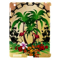 Tropical Design With Flamingo And Palm Tree Apple Ipad 3/4 Hardshell Case (compatible With Smart Cover) by FantasyWorld7