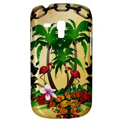 Tropical Design With Flamingo And Palm Tree Samsung Galaxy S3 Mini I8190 Hardshell Case by FantasyWorld7
