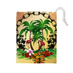Tropical Design With Flamingo And Palm Tree Drawstring Pouches (Large)  by FantasyWorld7