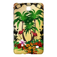 Tropical Design With Flamingo And Palm Tree Samsung Galaxy Tab 4 (7 ) Hardshell Case  by FantasyWorld7
