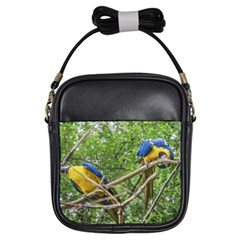 South American Couple Of Parrots Girls Sling Bags by dflcprints