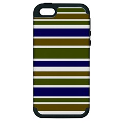 Olive Green Blue Stripes Pattern Apple iPhone 5 Hardshell Case (PC+Silicone) by BrightVibesDesign