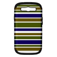 Olive Green Blue Stripes Pattern Samsung Galaxy S III Hardshell Case (PC+Silicone) by BrightVibesDesign