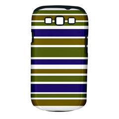 Olive Green Blue Stripes Pattern Samsung Galaxy S III Classic Hardshell Case (PC+Silicone) by BrightVibesDesign