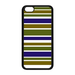 Olive Green Blue Stripes Pattern Apple Iphone 5c Seamless Case (black) by BrightVibesDesign