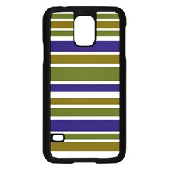 Olive Green Blue Stripes Pattern Samsung Galaxy S5 Case (black) by BrightVibesDesign