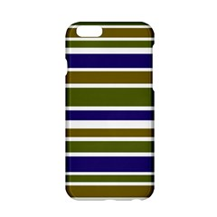 Olive Green Blue Stripes Pattern Apple Iphone 6/6s Hardshell Case by BrightVibesDesign