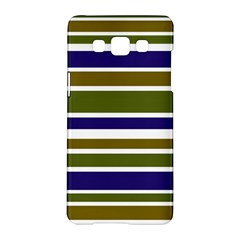 Olive Green Blue Stripes Pattern Samsung Galaxy A5 Hardshell Case  by BrightVibesDesign