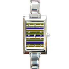 Olive Green Blue Stripes Pattern Rectangle Italian Charm Watch by BrightVibesDesign